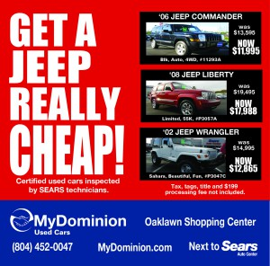 Get a Jeep Cheap (Dominion Auto)